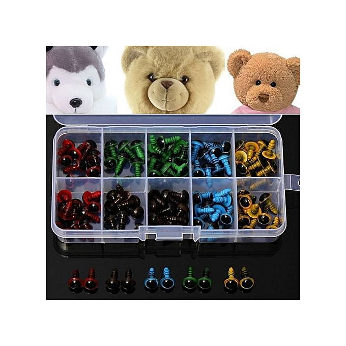 UNIVERSAL 100pcs 8mm 5 Couleurs Plastic Safety Eyes Washer For Teddy Bear Doll Animal Puppet à prix pas cher