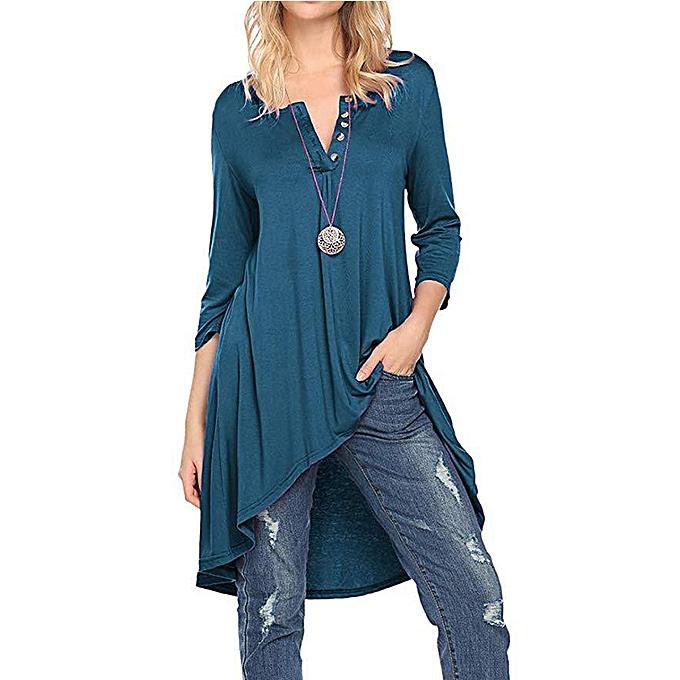 Tauntte femmes Dresses Crewneck Buttoned Party Blouse (Dark bleu) à prix pas cher