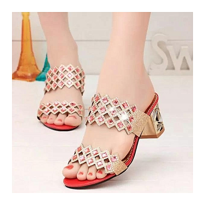 Fashion Rhombus Rhinestone Beaded Bling Hollow Out Peep Toe Square Heel Slippers-EU à prix pas cher