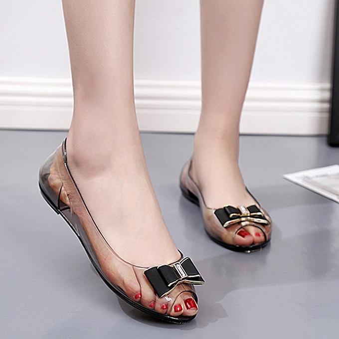 mode jiahsyc store femmes été Rhinestone Transparent Crystal Sandals Flat Jelly Fish Mouth chaussures à prix pas cher