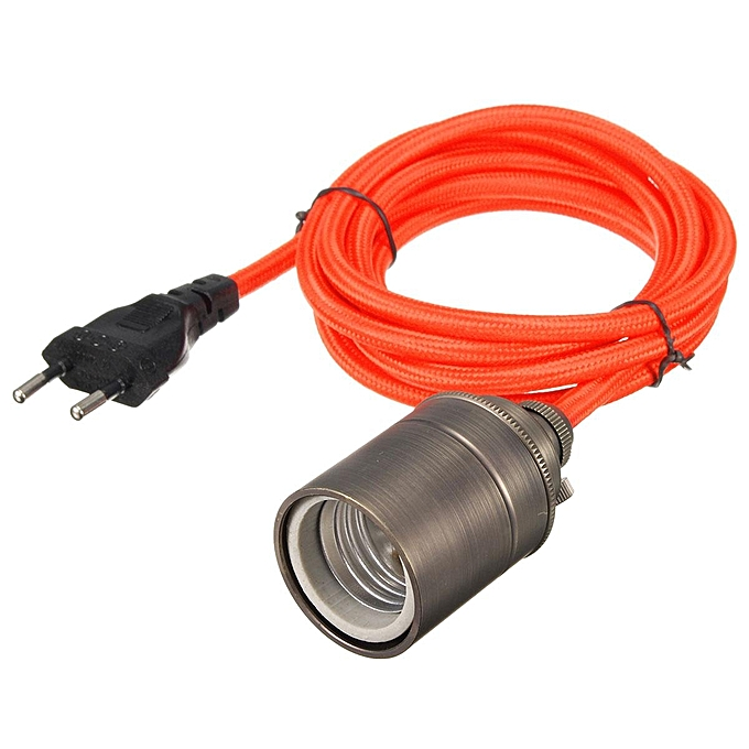 UNIVERSAL KINGSO Edison Chandelier E27 110-240V Socket Adapter Chandelier Retro Socket Copper with 2m European Plug Wire Orange à prix pas cher
