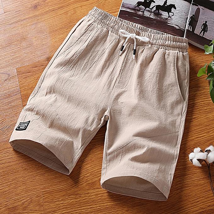 Fashion Men's Summer Fashion Leisure Flax Loose Belt Drawstring Beach Sports Shorts Pant à prix pas cher