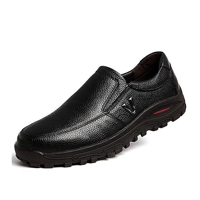 Fashion Fashion   Large Size Cow Leather Wear-resistant Wear-resistant Leather Casual Shoes Flats-EU à prix pas cher  | Jumia Maroc 46fda9