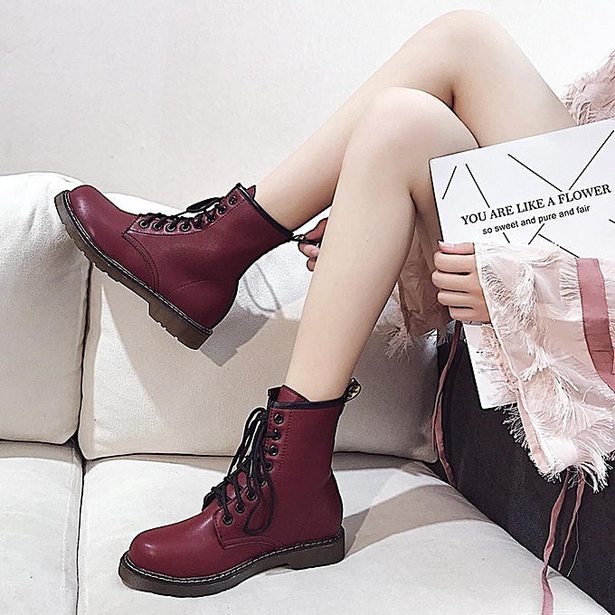 Autre Thick Sole Student Boots British prix Style Motorcycle Boots à prix British pas cher  | Jumia Maroc 6252a8