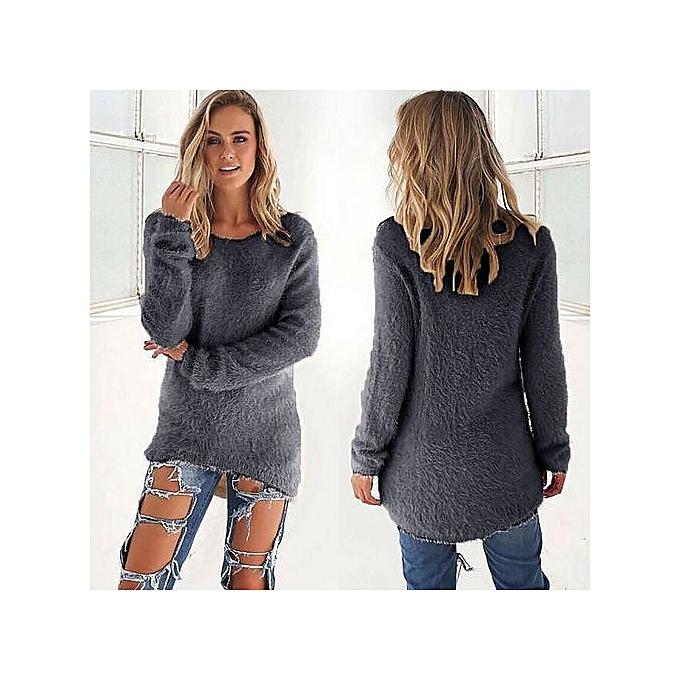 Fashion Pull Manches Longues Pour Femme - gris à prix pas cher