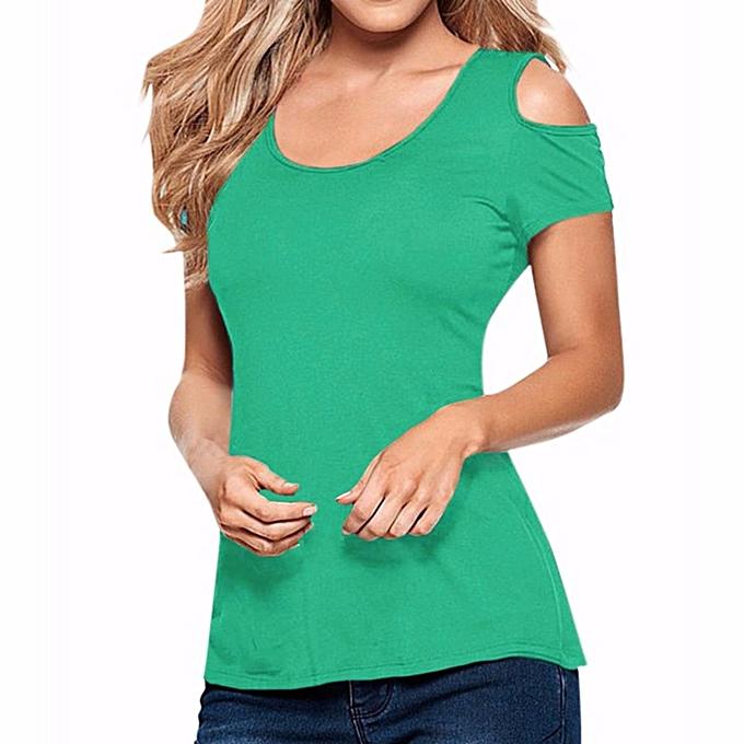 Zanzea ZANZEA Summer femmes Hollow Off Shoulder Casual Short Sleeve Lace Splicing Crochet Blouse Tank Backless Split Tops (Lake vert) à prix pas cher