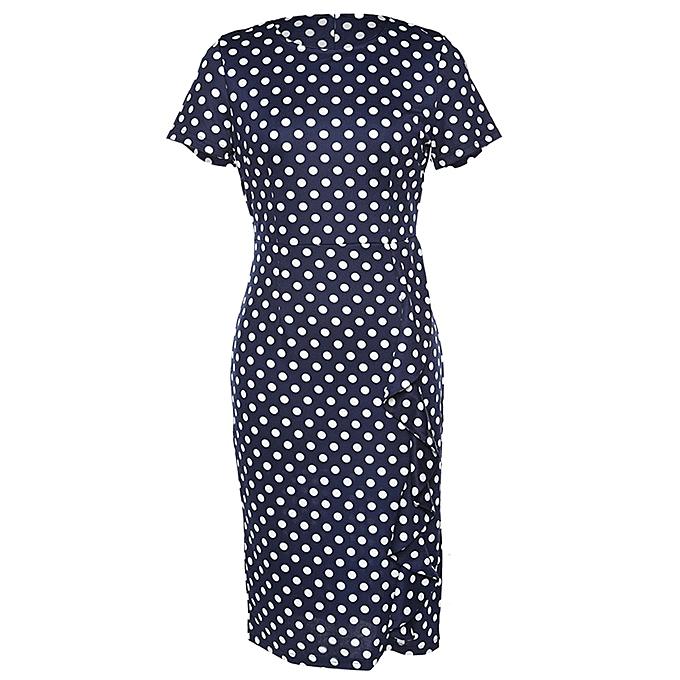 Kenancy Robe Professionnelle Vintage Wave Point Femme - Deep bleu à prix pas cher