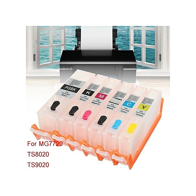 UNIVERSAL 6Pcs set K C M Y PGBK Refillable Ink Cartridge For MG7720 TS8020 TS9020 Tank à prix pas cher