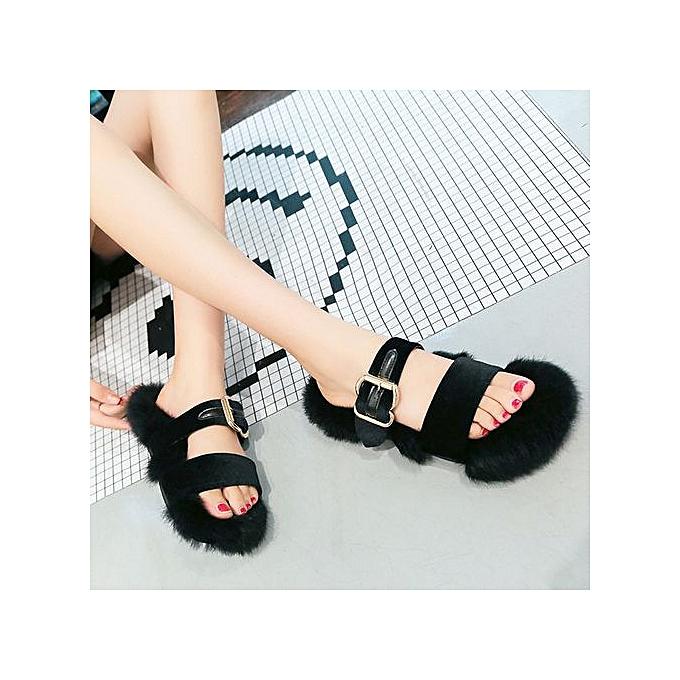Fashion Jiahsyc Store femmes Slippers Fashion Plush Slippers femmes Faux Fur Flip Flops Flat chaussures BK 35-noir à prix pas cher