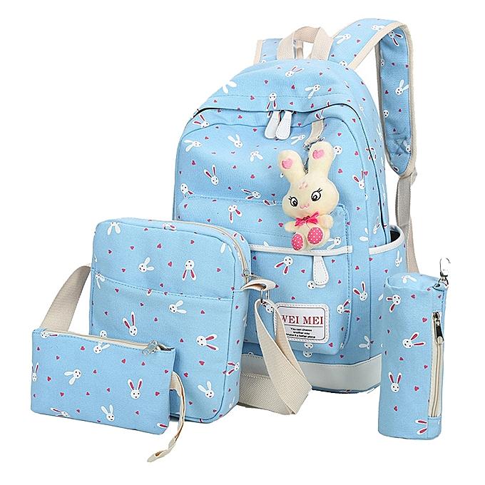 mode Tcetoctre 4 Sets femmes Girl Rabbit Animals voyage sac à dos School sac Shoulder sac Handsac-Sky bleu à prix pas cher