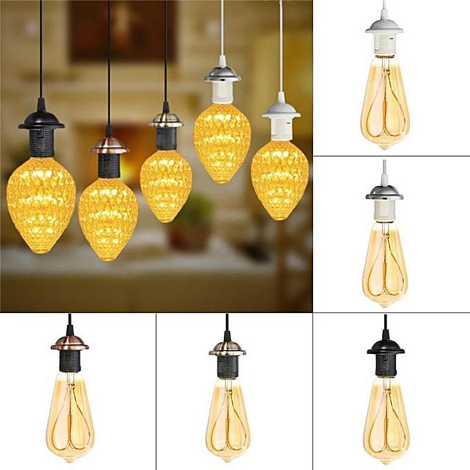UNIVERSAL E27 Ceiling Light Kit Iron PVC Fabric Flex Pendant Lamp Holder Fitting Lighting noir à prix pas cher