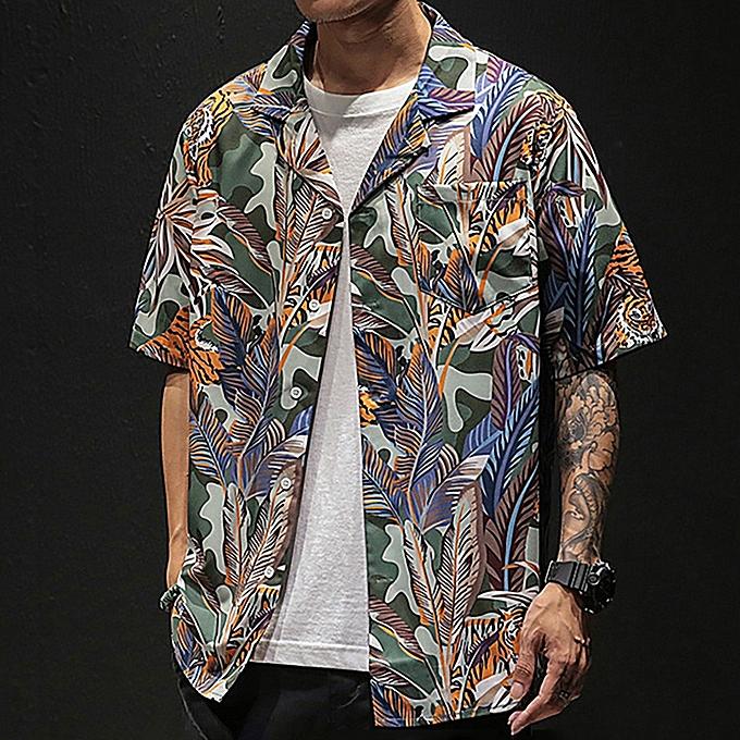 Fashion jiahsyc store Mens Summer Hawaii Shirts Casual Short Sleeve Beach Tops Loose Casual Blouse à prix pas cher