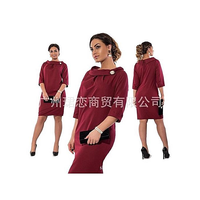 Generic 2017 Summer Autumn femmes Fashion Plus Taille Elegant Sexy Fashion Solid Couleur A Line Shape Dress Large Taille-wine rouge à prix pas cher