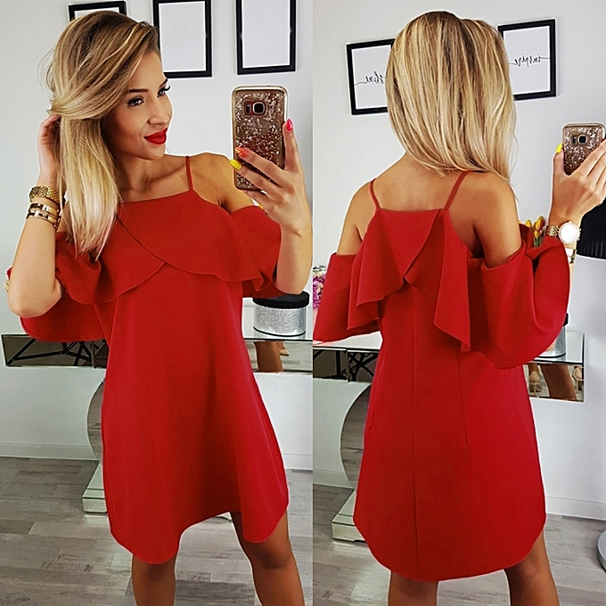 Fashion whiskyky store femmes Holiday Solid Dress Ladies Summer Beach Cold Shoulder Party Dress à prix pas cher