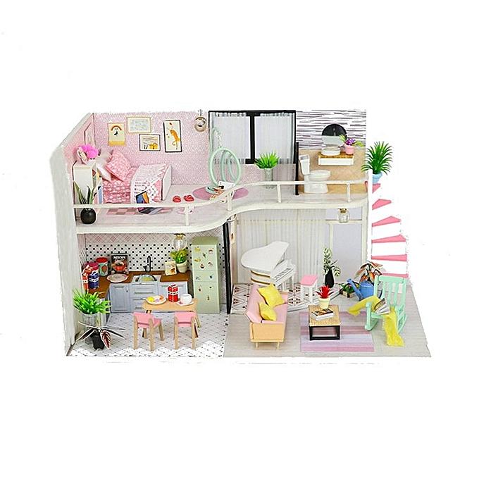 UNIVERSAL Hoomeda Handmake DIY bois Dollhouse Miniature Doll House With Dust Cover- à prix pas cher