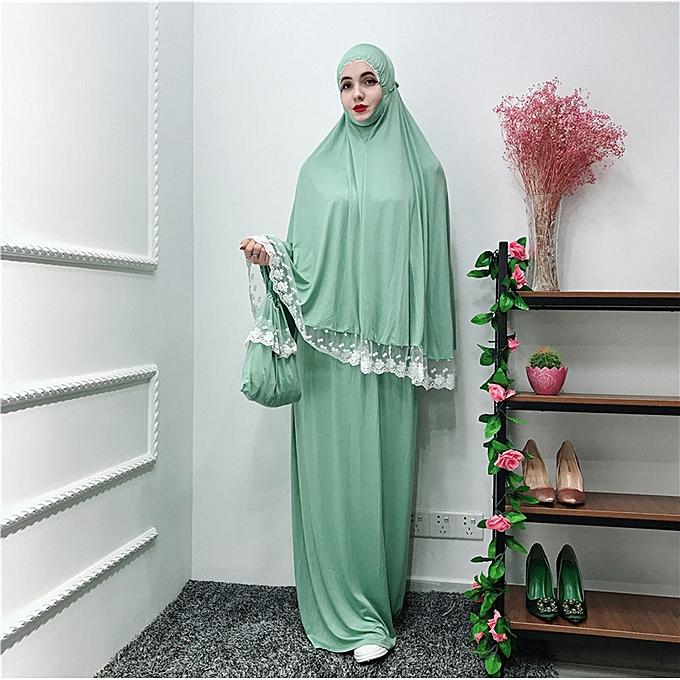 Fashion Hiamok Muslim femmes Ouble-Layerouge Large-Scale Mosque Lace Robes Dubai Cardigan Ramadan à prix pas cher
