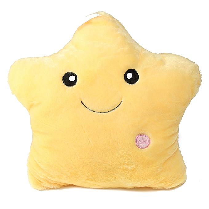 UNIVERSAL Cute Couleurful LED Stars Stuffed Dolls GFaible PilFaible Popular Plush lumière Toys Gift jaune à prix pas cher