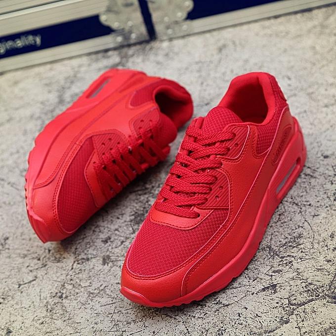 Other nouveau mode Hommes's en volant Weave Air Cushion Shock Absorbing Jogging engrener Fabric respirant chaussures-rouge à prix pas cher
