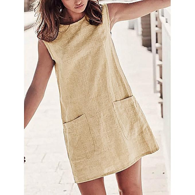 mode femmes Décontracté O Neck Sleeveless été Solid Linen Mini Robe With Pockets à prix pas cher