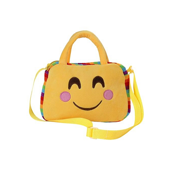 OEM Catwalk Unisex Kids Baby Cute jaune Emoji Series Hand Shoulder Bag Crossbody Schoolbag Kindergarten Travel Outdoor Bag Smile Style à prix pas cher