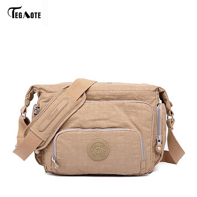 Other TEGAOTE Brand 2017 Spring Summer Fashion Crossbody Bags Single Shoulder Bags Ladies Nylon Bags femmes Handbags New Sac Femme(Khaki) à prix pas cher