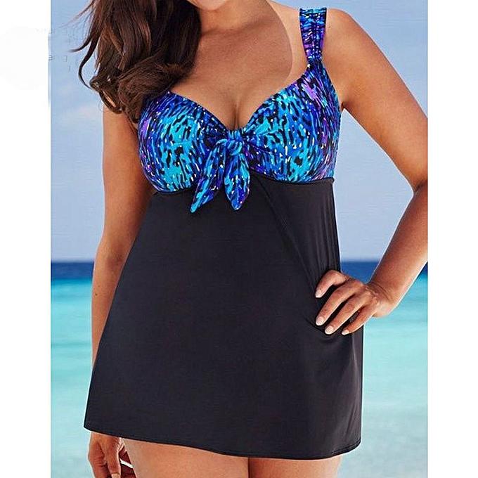 Autre bleu Push Up Padded Bikini maillot de bain femmes plage 2 piece maillot de bain Sport Taille Bathing Suit jupes 5XL(AO7) à prix pas cher