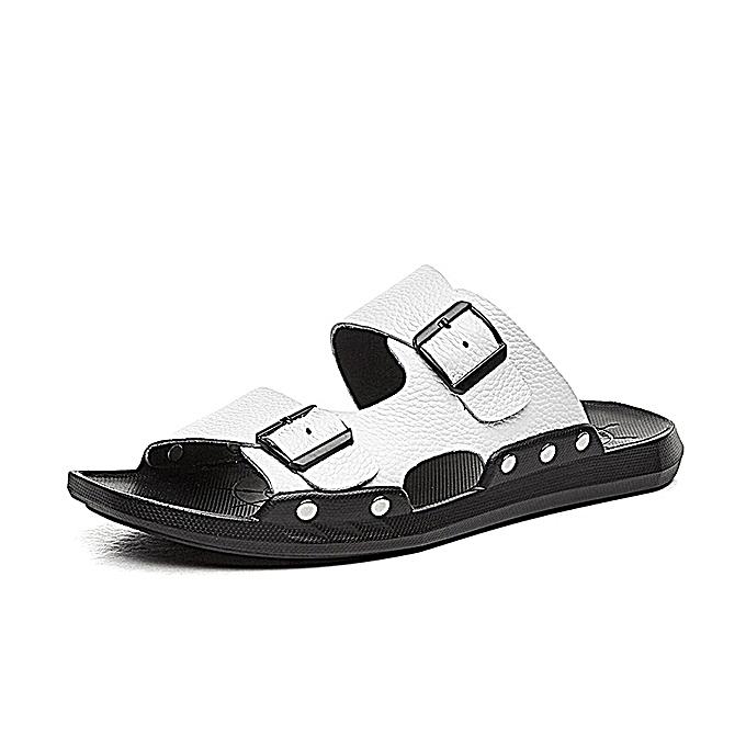 Fashion S-0056 Summer Fashion Men Male Cool Genuine Leather Open Toe Casual Beach chaussures Slippers Sandals à prix pas cher    Jumia Maroc
