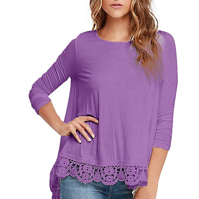 mode femmes& 039;s Lace manche longue Solid Shirt Décontracté chemisier Loose Cotton hauts T-Shirt à prix pas cher