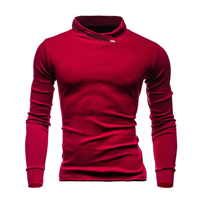 Fashion Men's Autumn Winter Solid Long Sleeved Sweatshirts Top Blouse  -rouge à prix pas cher