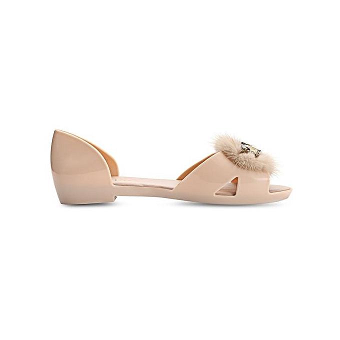 Fashion Open Toe Rhinestone Fur  Flat  Slip On Flat  Shoes à prix pas cher  | Black Friday 2018 | Jumia Maroc 5fa786