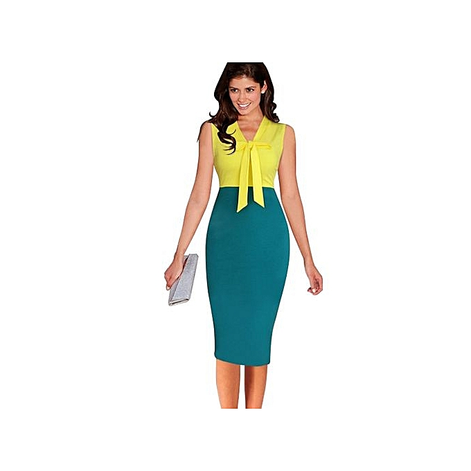 Fashion femmes Dress Party noir rouge Fashion Female Clothes Work Office Ropa Vestidos De Festa Vintage Pencil-jaune à prix pas cher
