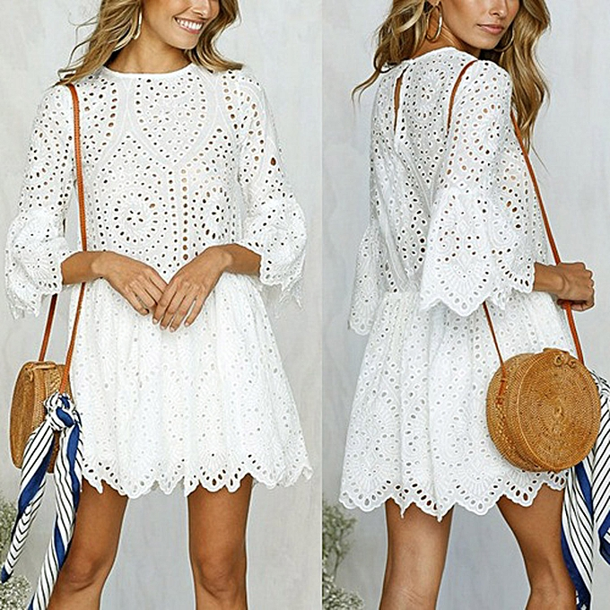 Fashion femmes Flowers Lace Short Sleeve Round neck Party Dress Vintage Lace Dress WH L à prix pas cher