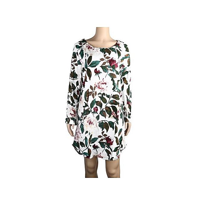 Fashion Xiuxingzi femmes Floral Print Mini Dress Summer Party Long Long Sleeve Dress Plus Taille à prix pas cher