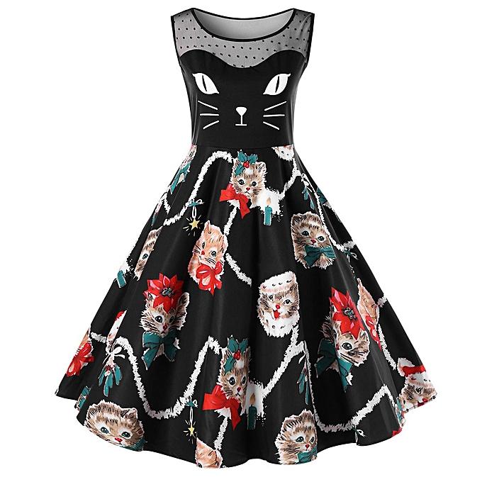 Generic Xiuxingzi femmes Cat Printing Sleeveless Party Dress Ladies Vintage Swing Lace Dress BK M à prix pas cher