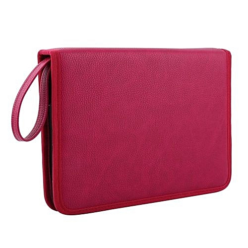 72 slots pu leather foldable zipper pen bag rose red for Housse voiture rose
