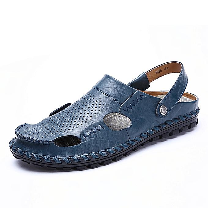 Fashion Men's Leather Sandals Slilde Slippers-bleu à prix pas cher