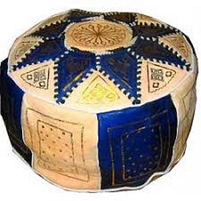 Generic Ethnique blanc  bleu    décoratif Pouf ETOILE marocain Pouf marocain en Cuir véritable Oriental Repose-Pieds Arabe égyptien Tunisien Turc à prix pas cher