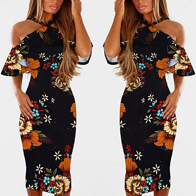 Fashion schoolcool femmes Casual Print Floral Sleeveless Backless Dress Princess Dress XL à prix pas cher
