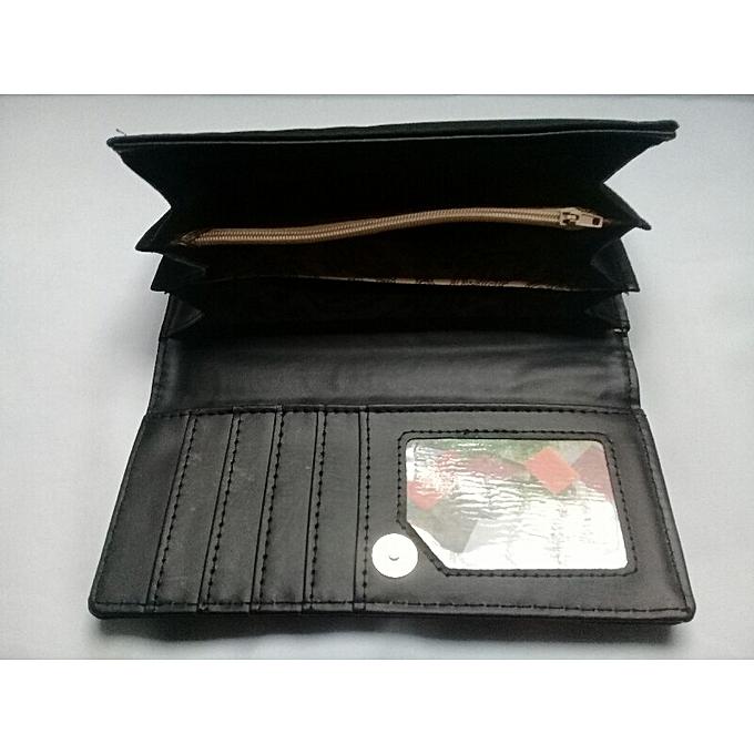 55f21eec36b4 ... Grand Portefeuille et porte monnaies noir Femme Style plusieurs  pochettes porte cartes de crédit de la