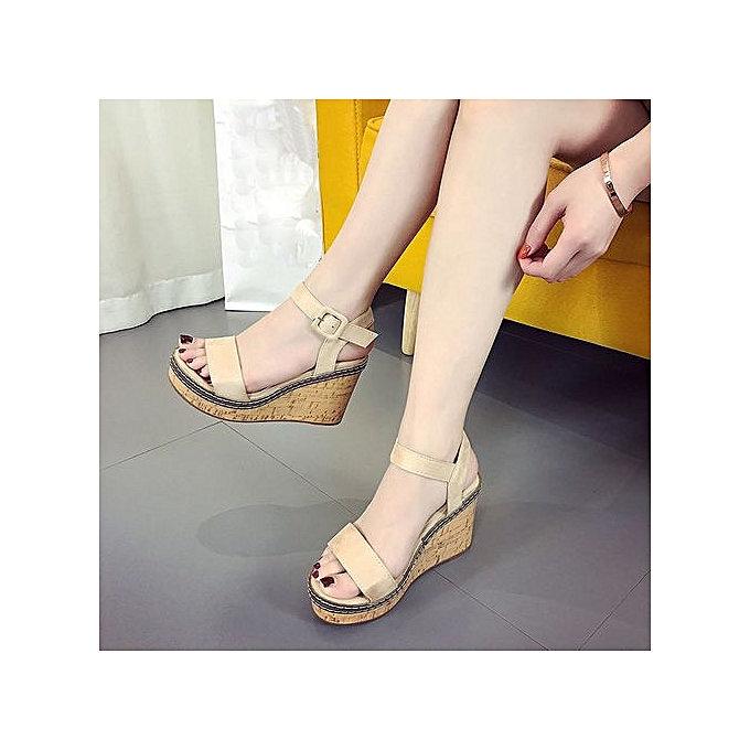 Fashion Jiahsyc Store femmes Fish Mouth Platform talons hauts Wedge Sandals Buckle Slope Sandals-Beige à prix pas cher