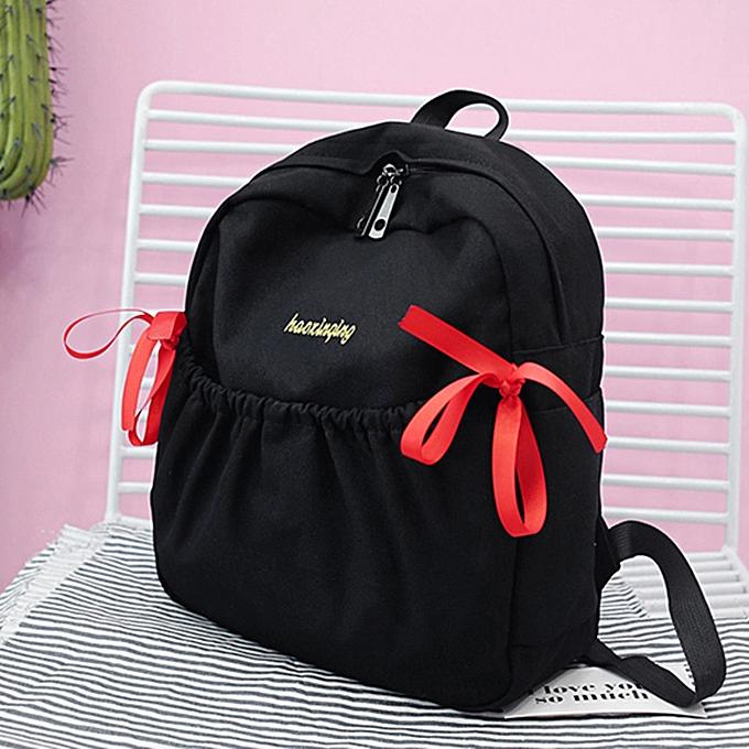 Fashion (Xiuxingzi)  femmes Girl Bow Canvas Backpack Double Shoulder Bag Travel School Bag à prix pas cher