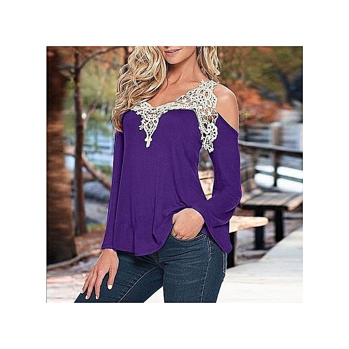 Generic Cut-out Shoulder Long Flarouge Sleeve Crochet Blouse (violet) à prix pas cher