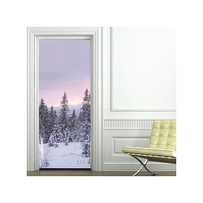 Other 2PCS Door Stickers PVC Removable Beautiful Rohommetic DIY Wallpapers For Room (Snow Scene) à prix pas cher