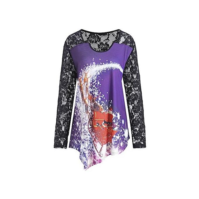 Nextmia Christmas Santa Claus Lace Plus Taille T-shirt à prix pas cher