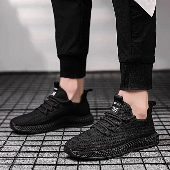 Fashion jiahsyc store Fashion Men's Lace Up Sports Running Casual Breathable baskets Solid chaussures à prix pas cher