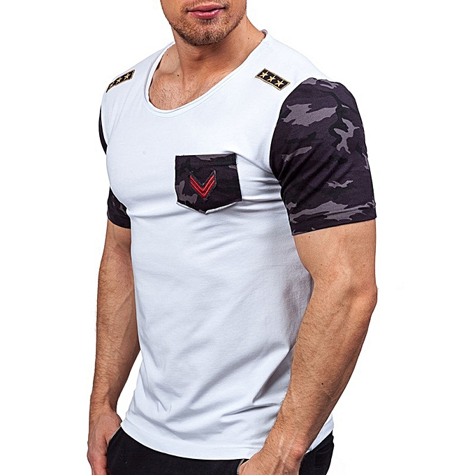 Fashion Mens Splicing  Printing Tees Shirt Short Sleeve T-Shirt Blouse Tops à prix pas cher