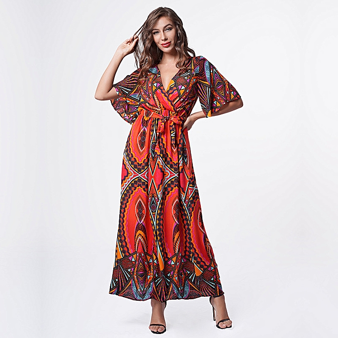 Fashion Beach dress with v-neck for femmes - rouge à prix pas cher