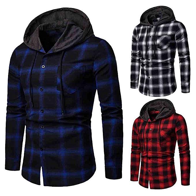 Fashion Men's Long Sleeve Lattice Painting Hoodie Large Taille Casual Top Blouse Shirts -bleu à prix pas cher