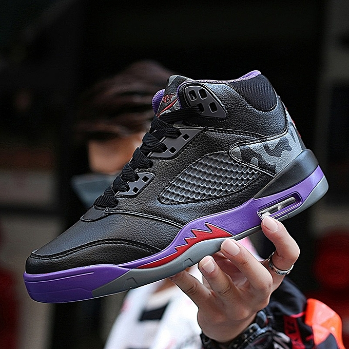 Other nouveau mode mode Hommes's Shockproof Basketball chaussures High Top Sports chaussures  -noir violet à prix pas cher