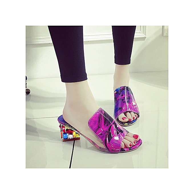 OEM Large Taille Wohommes chaussures in the summer with a rhinestone word aunt sandals femmes violet à prix pas cher